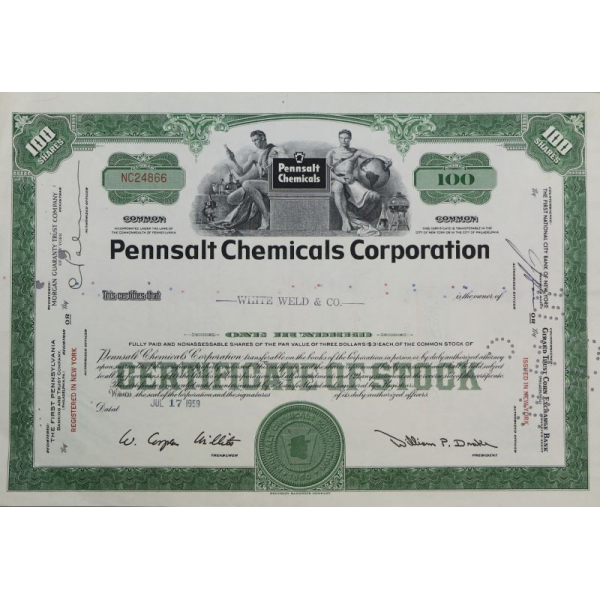 Сертификат на акции Pennsalt Chemical Corporation 100 штук 1959 г